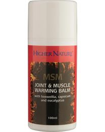 Higher Nature MSM Joint & Muscle Warming - 100ml Balm